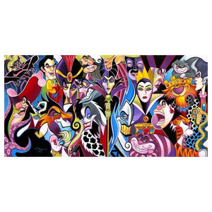 All Their Wicked Ways by Tim Rogerson features Disney beloved villains, featuring Maleficent, Cruella de Ville, Ursulla, Captain Hook, Jafar, Shere Khan, Scar, and many more in this colorful collage.