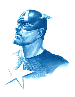Captain America: Allegiance by Alex Ross  Portrait of Captain America captures the shades of blue, Ross reveals the nature of Captain America in a single expression; loyal, faithful, and courageous.