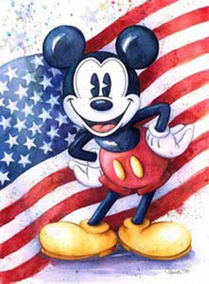 By Character_Mickey Mouse posing in front of the America Flag