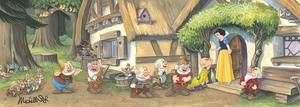 The Seven Dwarfs line up, for their kiss from Snow White.