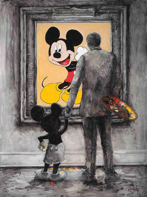 Walt and Mickey standing in front of a portrait of Mickey,