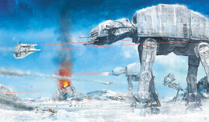 AT-AT walkers and ground troops attack the Rebel Alliance base.  - Canvas