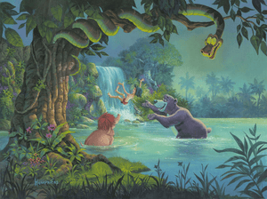 At Home in the Wild by Michael Humphries  Mowgli and his friends play in the jungle's pond.