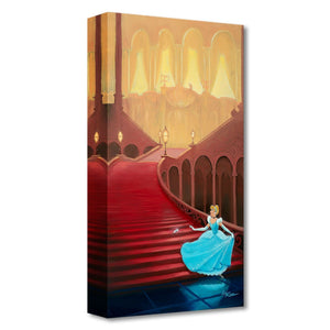 At the Stroke of Midnight by Rob Kaz.  Cinderella races down the steps of the castle, at the stroke of midnight and leaves behind her glass slipper.