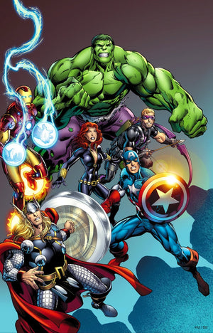 Gathering of the Avengers - Hawkeye, Hulk, Iron-Man, Black Widow, Captain America, and Thor.