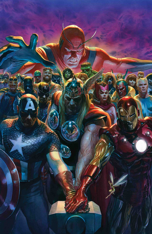 Avengers 700 by Alex Ross Marvel celebrates a monumental milestone with The Avengers 700th issue. Ross assembles Avengers past and present to commemorate this historic event.
