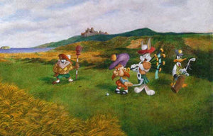 Bugs plays the Scottish bagpipes at the golf course with Daffy Duck, Taz, and Yosemite Sam.