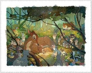 Bambi and Mother Toby Bluth (LOW)  A proud mother watches her little fawn as he sleeps, and surrounded by all the forest animal friends, in this endearing  painting of Bambi and his mother.