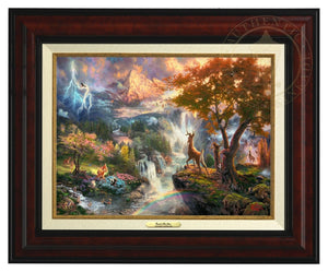 Bambi is on a rocky precipice overlooking the terrain of his kingdom and the four seasons of his first year - Burl Frame