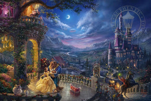 As the lovable Footstool playfully dances at the feet of Belle and the Beast, all the characters gather around in the Castle's beautiful veranda for an evening of love and romance. - unframed