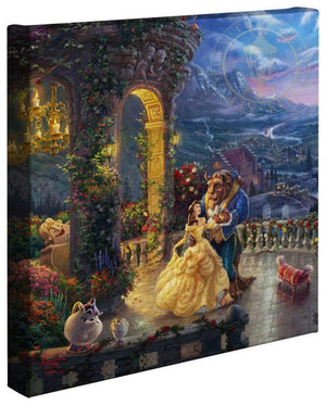 Belle and the Beast dance in the garden veranda of the Beast's castle which overlooks the village.