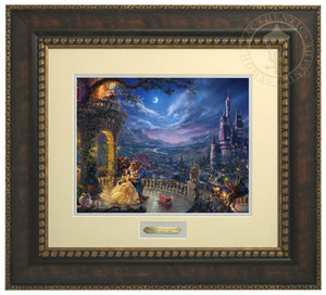 Beauty and the Beast Dancing in the Moonlight by Thomas Kinkade Studios  Belle and the Beast dance in the garden veranda of the Beast's castle which overlooks the village - Bronzed Gold Frame