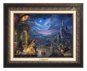 Belle and the Beast celebrate their love under the dreamy moonlit sky, with all their friend enjoying the moments - Aged Bronze Frame