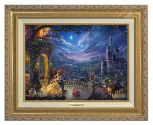 Belle and the Beast celebrate their love under the dreamy moonlit sky, with all their friend enjoying the moments - Antique Gold Frame