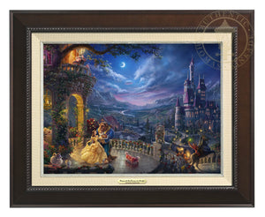 Belle and the Beast celebrate their love under the dreamy moonlit sky, with all their friend enjoying the moments - Espresso Frame