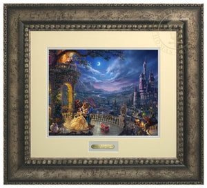 Beauty and the Beast Dancing in the Moonlight by Thomas Kinkade Studios  Belle and the Beast dance in the garden veranda of the Beast's castle which overlooks the village - Antiqued - Silver