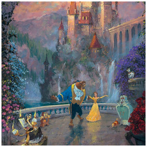 Beast and Belle dance to the tunes serenaded by Belle's newly found friends. The beautiful Beast's castle is in the background - closeup