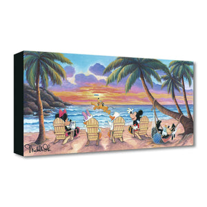 A Beautiful Day at the Beach by Michelle St. Laurent.  Mickey, Minnie, Daisy, and Donald spend the day sitting around the beach and watch Pluto play catch the frisbee.