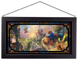 Beauty and the Beast Falling in Love - Framed Glass Art