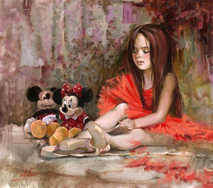 little ballerina playing with her stuffed friends, Mickey and Minnie