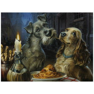 Lady and the Tramp  enjoying a spaghetti and meatball dinner by candle light,