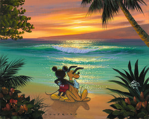 Mickey has his arm around Pluto as they watch the sunset at the beach.