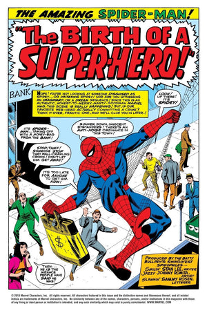 The Birth of a Superhero By John Romita -   Featuring Spider-Man getting away with a brief of money from the bank below as he climbs up a building with the help of his webs - comic book cover