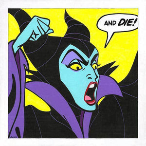 "Maleficent shouts out in anger ""AND DIE"" as she is casting her spell, a birthday wish for Aurora"