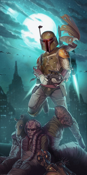 Boba Fett standing over with his captured bounty