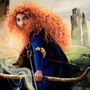 Brave Merida by Jim Salvati.  Merida featured in her glowing reddish colored flowing long hair, and with her cross-bow in hand- closeup