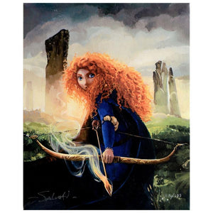 Brave Merida by Jim Salvati.  Merida featured in her glowing reddish colored flowing long hair, and with her cross-bow in hand.