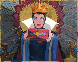 Bring Back Her Heart by Jim Salvati.  The Evil Queen holding a decorative box with a heart shaped lock.