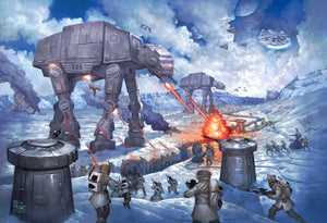 On the ice planet of Hoth™, the Rebel Squadrons battle the Imperial AT-STs™ and massive AT-ATs™ - unframed