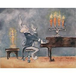 Features Bugs Bunny playing the grand piano