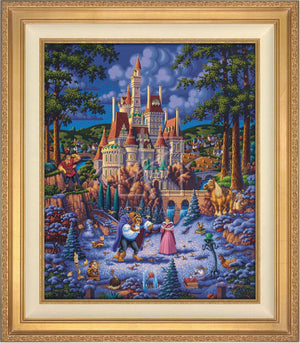 Belle and the Beast begin to fall in love. As she helps him try to feed the birds in the snow - Antique Gold Frame