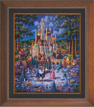 Belle and the Beast begin to fall in love. As she helps him try to feed the birds in the snow - Aurora Copper Frame