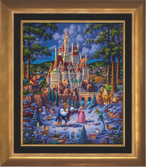 Belle and the Beast begin to fall in love. As she helps him try to feed the birds in the snow - Aurora Gold Frame