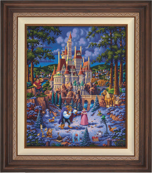 Belle and the Beast begin to fall in love. As she helps him try to feed the birds in the snow - Dark Walnut Frame