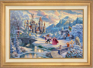 Beauty and the Beast's Winter Enchantment  - Antique Gold Frame