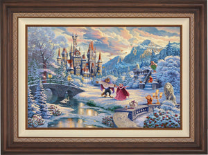 Beauty and the Beast's Winter Enchantment - Walnut Frame