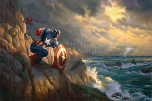 On the shore's rocky outcrop, Captain America has positioned himself ready to battle Red Skull and his Hydra henchmen, who are approaching the coast in submarines. - Unframed Canvas