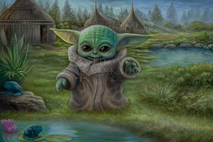 The Child plays by a pond. Inspired by Star Wars Movies Series The Mandalorian.