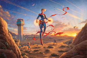 The morning sun dawns on a new day amplifying the glowing power emanating from Captain Marvel's hands as she watches over the desert base. Artwork inspired by Marvel Comic character Captain Marvel.