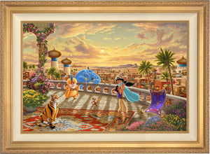 The setting sun casts a romantic glow over the kingdom of Agrabah as Aladdin twirls Jasmine around the palace balcony - Antique Gold Frame.