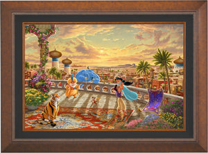 The setting sun casts a romantic glow over the kingdom of Agrabah as Aladdin twirls Jasmine around the palace balcony - Aurora Copper Frame.