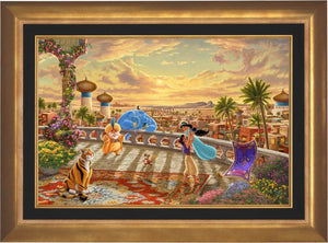 The setting sun casts a romantic glow over the kingdom of Agrabah as Aladdin twirls Jasmine around the palace balcony - Aurora Gold Frame.