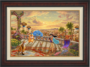 The setting sun casts a romantic glow over the kingdom of Agrabah as Aladdin twirls Jasmine around the palace balcony - Burl Frame.