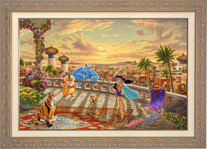 The setting sun casts a romantic glow over the kingdom of Agrabah as Aladdin twirls Jasmine around the palace balcony - Carrisa Frame.