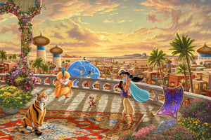 A romantic setting glow over the kingdom of Agrabah. Aladdin twirls Jasmine around the palace balcony, as they celebrate with all their friends. ver the kingdom of Agrabah as Aladdin twirls Jasmine around the palace balcony  -Unframed.