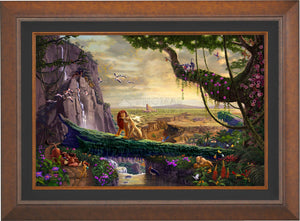 Simba and Nala, as a young adult, finding love, and in the distance presenting his son back on Pride Rock - Aurora Copper  Frame.